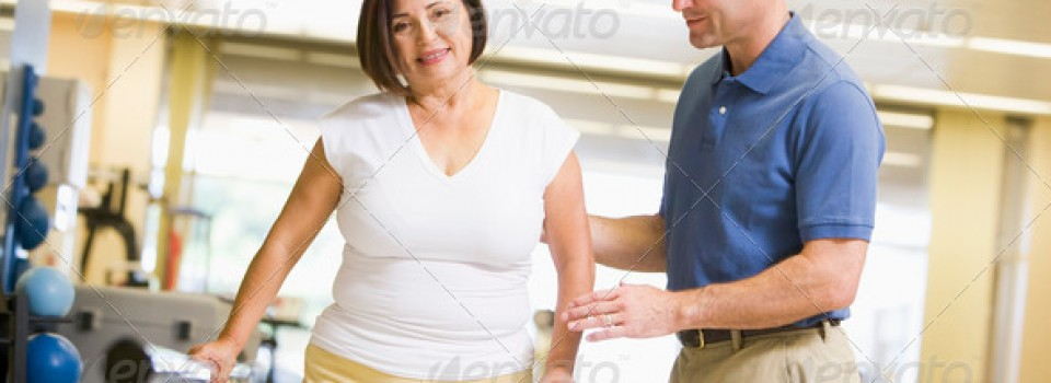 man helping women walk