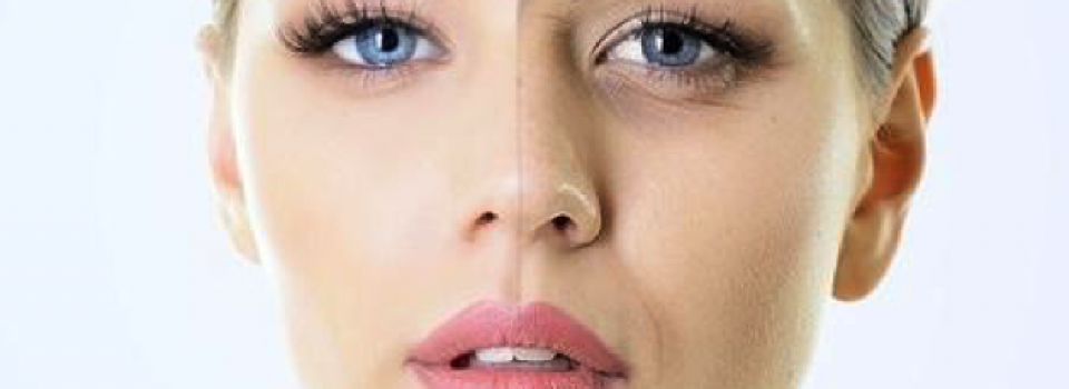 womens face with half peeling off